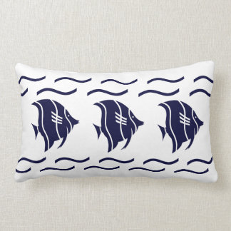 navy blue fish & waves on a white  PILLOW