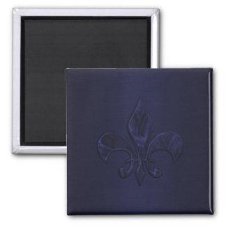 Navy Blue Fleur de Lis Square Magnet