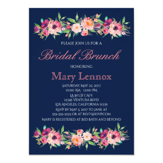 Navy Blue Floral Bridal Brunch Invitation