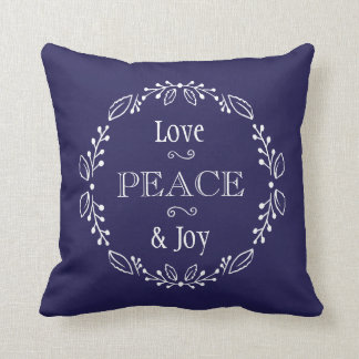 Navy Blue Floral Holiday Peace Typography Throw Pillow
