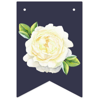 navy blue floral Ivory Rose wedding party BUNTING Bunting Flags