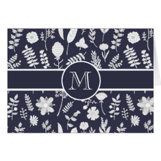 Navy Blue Floral Monogram Personalized Card