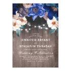 Navy Blue Floral String Lights Rustic Fall Wedding Card