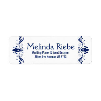 Navy-Blue Floral Swirls Border Return Address Label