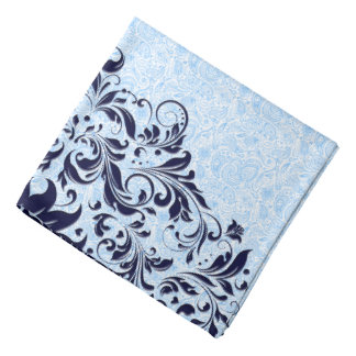 Navy Blue Floral Swirls With Baby Blue Paisley Bandannas