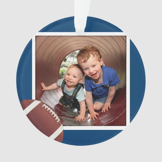 Navy Blue Football Boys Photo Ornament