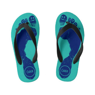 Navy Blue Footprints Smiley-Toes™ Cool Aqua Blue Kid's Flip Flops