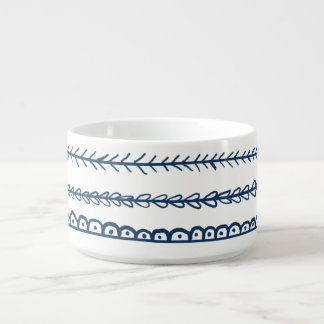 Navy Blue Fun Doodles Wedding Bowl