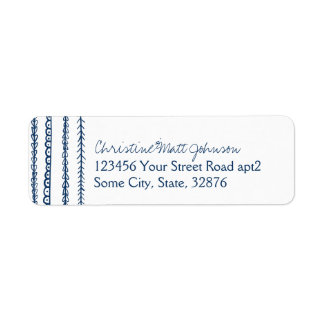 Navy Blue Fun Doodles Wedding Return Address Label