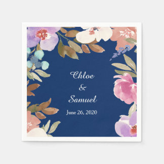 Navy Blue Garden Floral Wedding Disposable Napkins