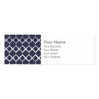 Navy Blue Geometric Ikat Tribal Print Pattern Business Card Templates