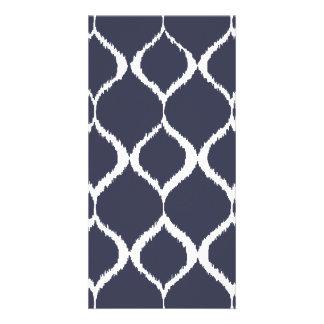 Navy Blue Geometric Ikat Tribal Print Pattern Custom Photo Card