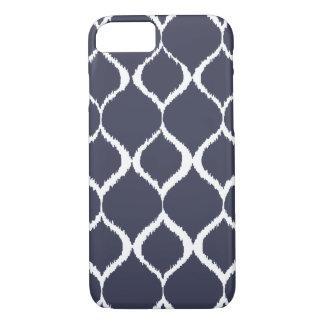 Navy Blue Geometric Ikat Tribal Print Pattern iPhone 8/7 Case