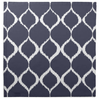 Navy Blue Geometric Ikat Tribal Print Pattern Napkin