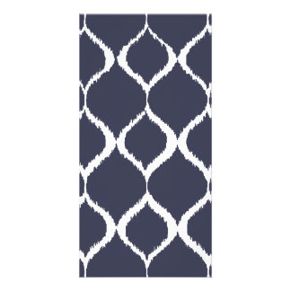 Navy Blue Geometric Ikat Tribal Print Pattern Photo Card Template