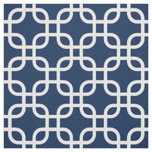 Navy Blue Geometric Links Pattern Fabric