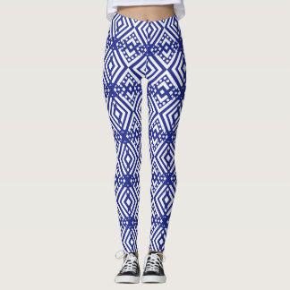 Navy Blue Geometric Pattern Leggings