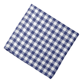 Navy Blue Gingham Checks Pattern Bandana