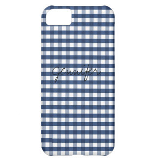 Navy Blue Gingham Customizable Cover For iPhone 5C