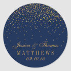 Navy Blue & Glam Gold Confetti Wedding Favour Classic Round Sticker