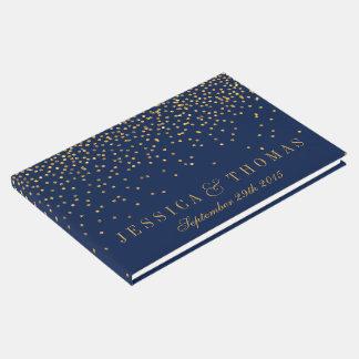 Navy Blue & Glam Gold Confetti Wedding Guest Book