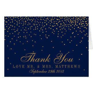 Navy Blue & Glam Gold Confetti Wedding Thank You Card