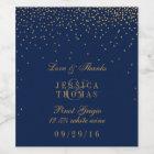Navy Blue & Glam Gold Confetti Wedding Wine Bottle Wine Label
