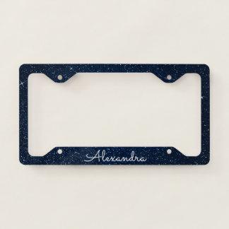 Navy Blue Glitter and Sparkle Monogram License Plate Frame