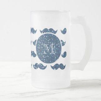 Navy Blue Glitter Mustache Pattern Your Monogram Coffee Mugs