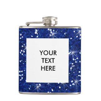 Navy Blue Glitter Printed Hip Flask