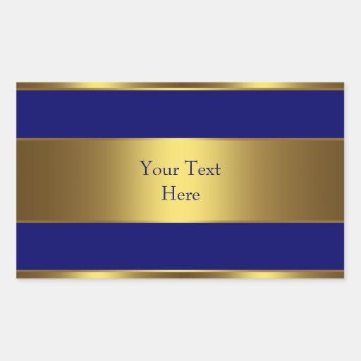 Navy Blue Gold Address Envelope Seal Labels Rectangle