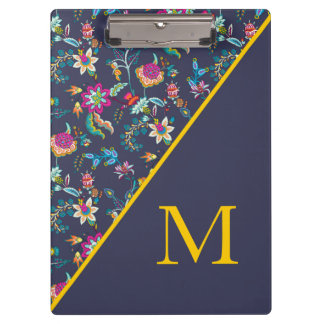 Navy Blue Gold and Pink Floral Monogram Clipboard