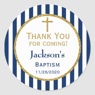 Navy Blue Gold Boys Baptism Thank You Favor Tags