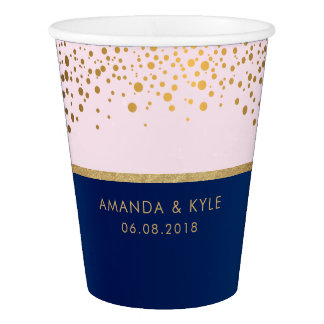 Navy Blue & Gold Confetti Dots & Pale Pink Design Paper Cup