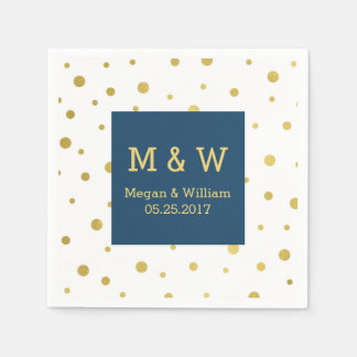 Navy Blue Gold Confetti Wedding Monogram Paper Napkins