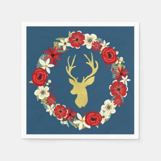 Navy Blue Gold Deer Floral Wreath Christmas Napkin Paper Napkins