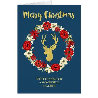 Navy Blue Gold Deer Wreath Christmas Teacher Greeting Card