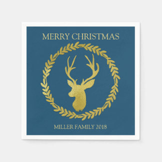 Navy Blue Gold Deer Wreath Custom Christmas Napkin Disposable Napkin