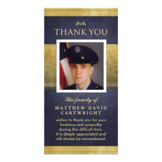 Navy Blue & Gold Elegance Thank You Memorial Card Personalized Photo Card