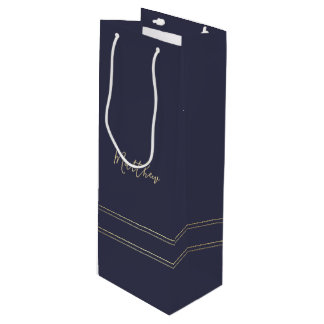 Navy Blue | Gold Elegant Wedding Favor Wine Bags