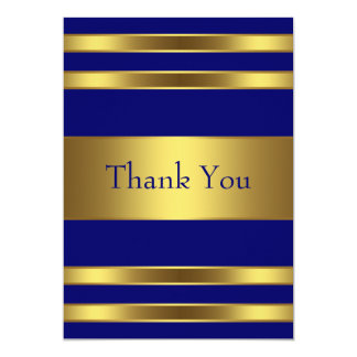 Navy Blue Gold Flat Thank You Card