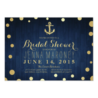 Navy Blue Gold Foil Anchor Nautical Bridal Shower Card