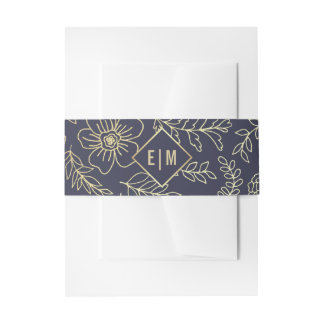 Navy Blue | Gold Foil Invitation Belly Bands Invitation Belly Band