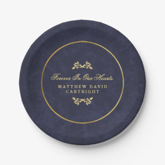 Navy Blue & Gold Forever In Hearts Memorial Plates 7 Inch Paper Plate
