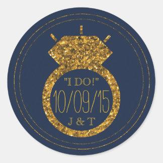 Navy Blue & Gold Glitter Wedding Ring Stickers