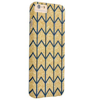 Navy Blue Gold Glitter Zigzag Unique Chevron Barely There iPhone 6 Plus Case