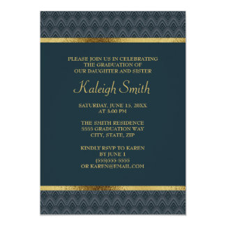 Navy Blue Gold Graduation Party Card