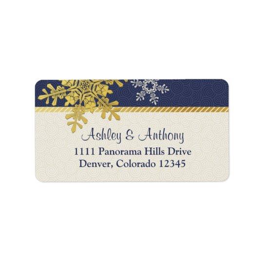 Navy Blue Gold Snowflake Winter Wedding Address