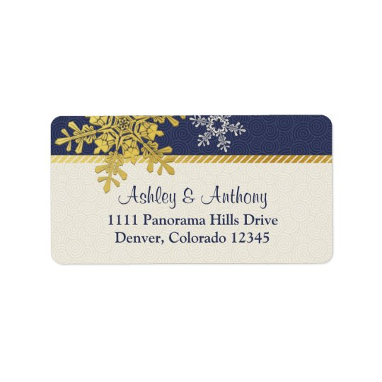 Navy Blue Gold Snowflake Winter Wedding Address Label