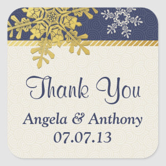 Navy Blue Gold Snowflake Winter Wedding Stickers